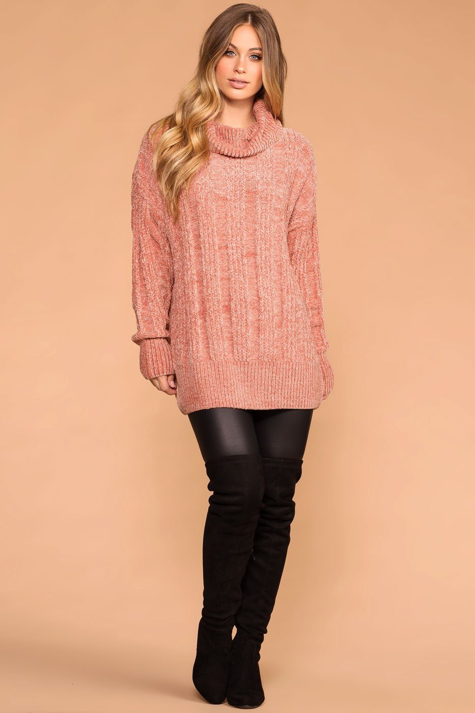 Maureen Rose Chenille Knit Turtleneck Sweater