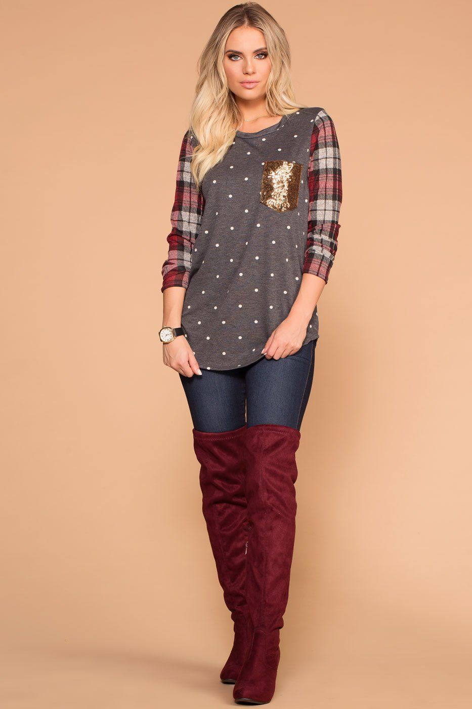 Priceless | Charcoal Polka Dot | Plaid | Sparkle Pocket Top | Womens
