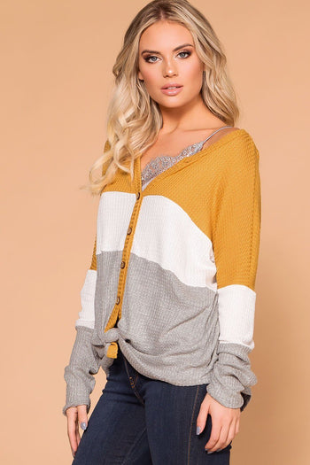 Priceless | Mustard | Grey | Color Block Top | Waffle Knit Top | Womens