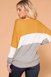 Shop Priceless | Mustard | Color Block | Waffle Knit Top | Womens