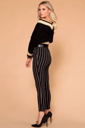 Priceless | Black | Striped Pants | Trouser Pants | Womens
