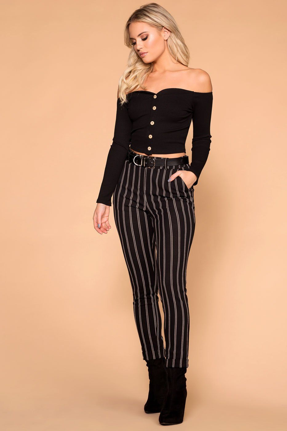 Manda Black Button Off The Shoulder Crop Top | Mezzanine