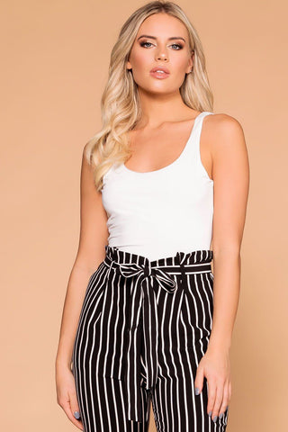 Callie Charcoal Striped Elbow Patch Top