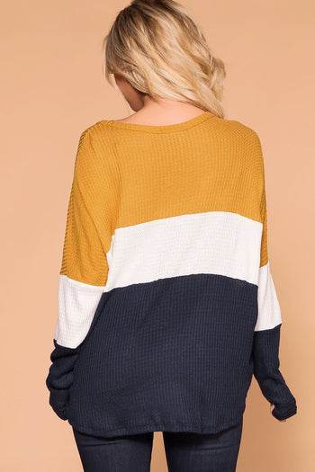 Priceless | Mustard | Color Block Top | Waffle Knit Top | Womens