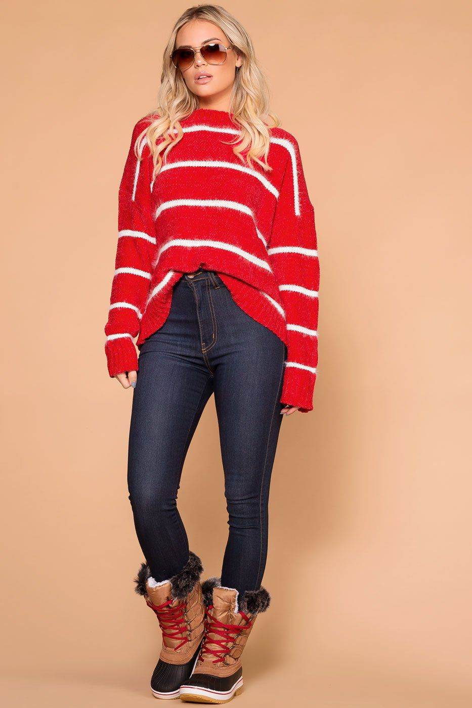 Maddie Red Stripe Chenille Knit Sweater | Main Strip