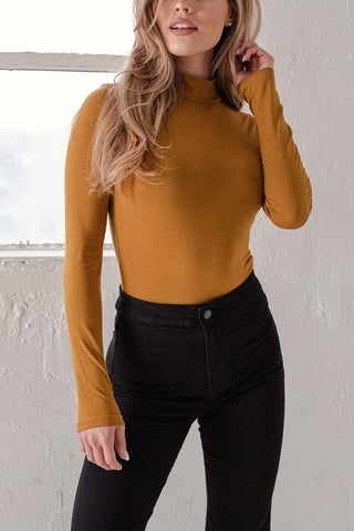 Nora White Ribbed Turtleneck Bodysuit