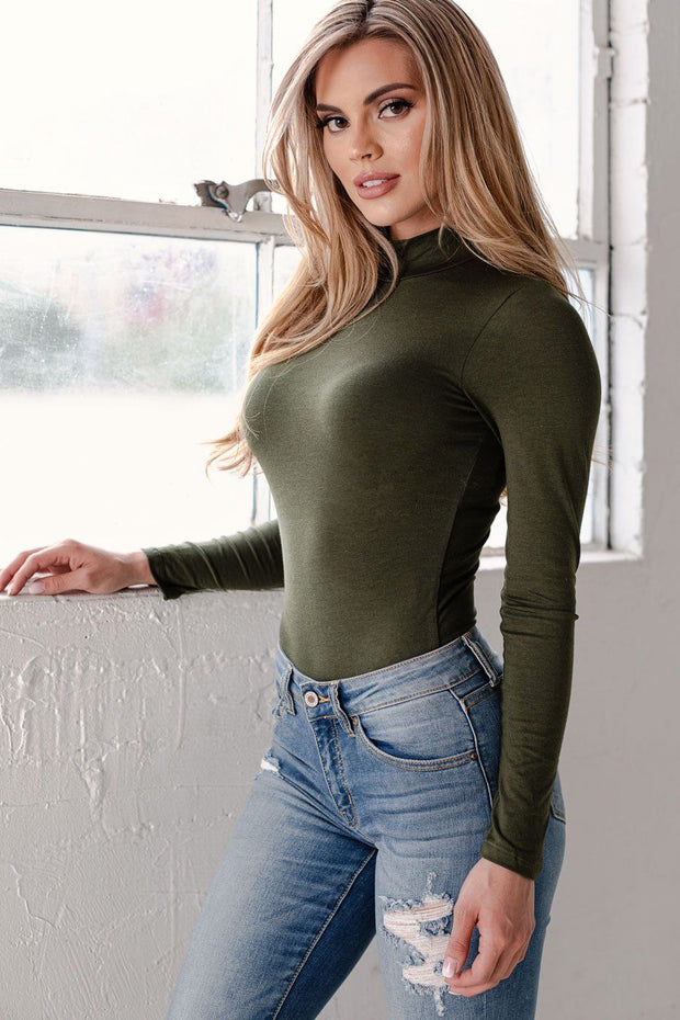 Olive Turtleneck Bodysuit