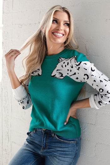 Teal White Leopard Sweater Top