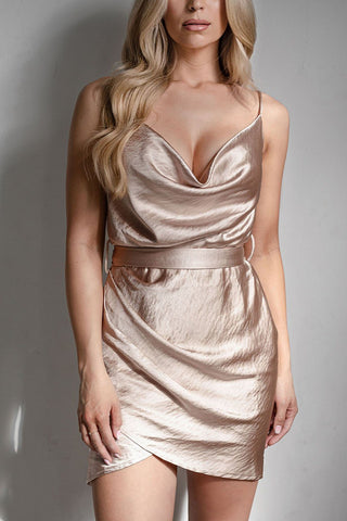 Star Stuff Champagne Satin Mini Dress