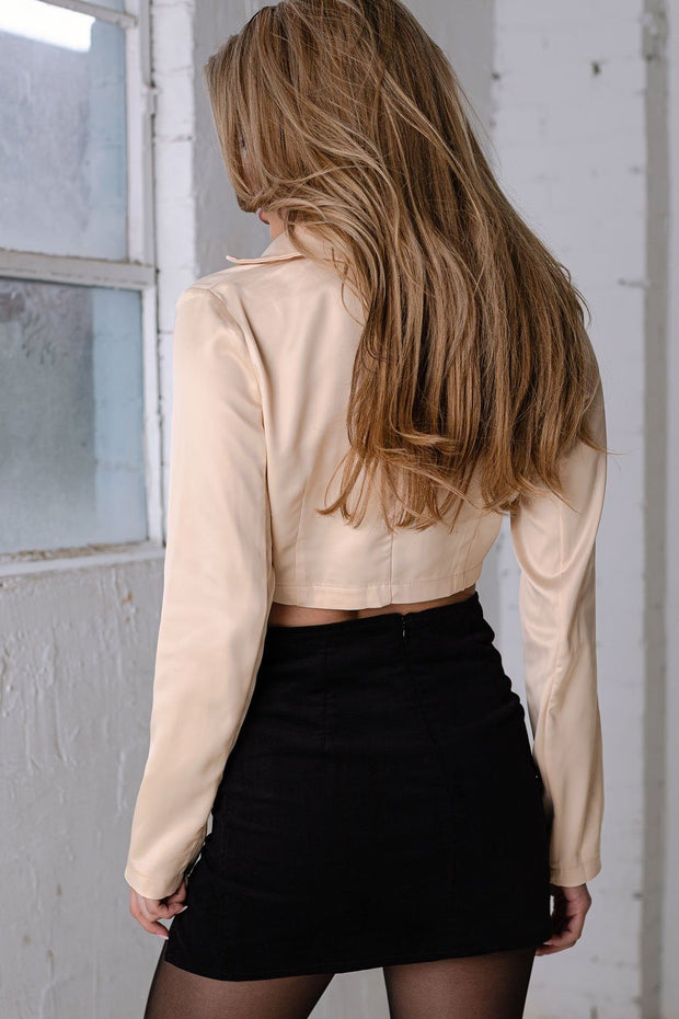Cream Satin Blazer Crop Top