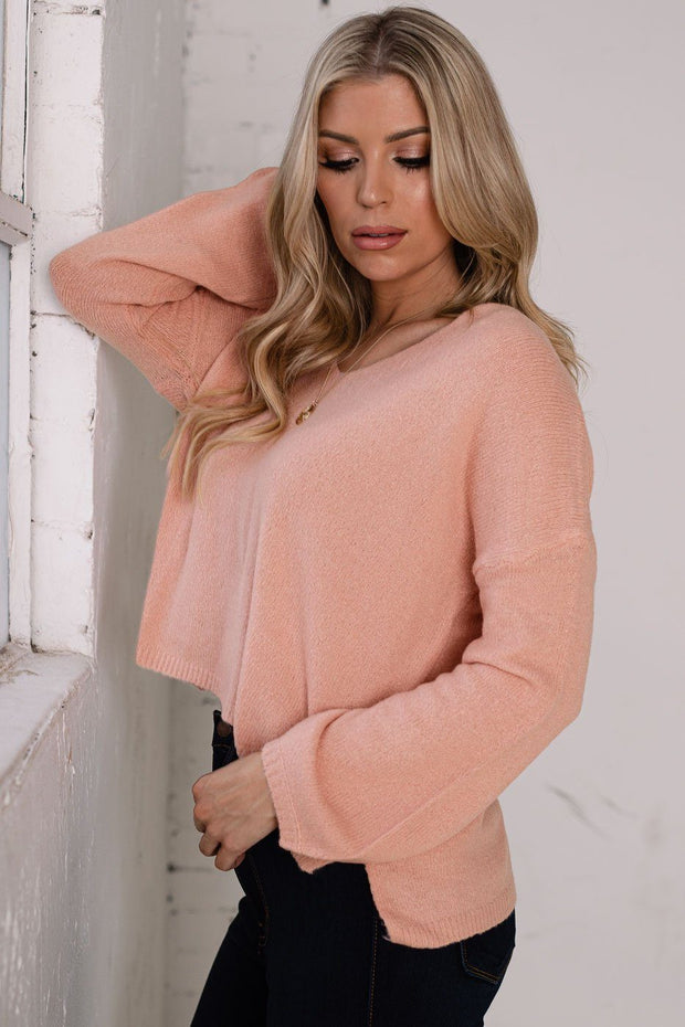 Blush V-Neck Sweater