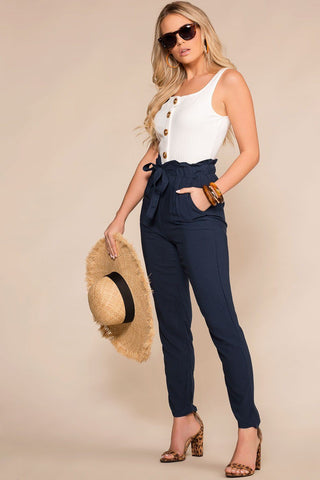 Sable High Waist Pants - Navy