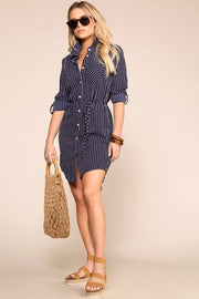 Navy Stripe Button Up Dress Long Sleeve
