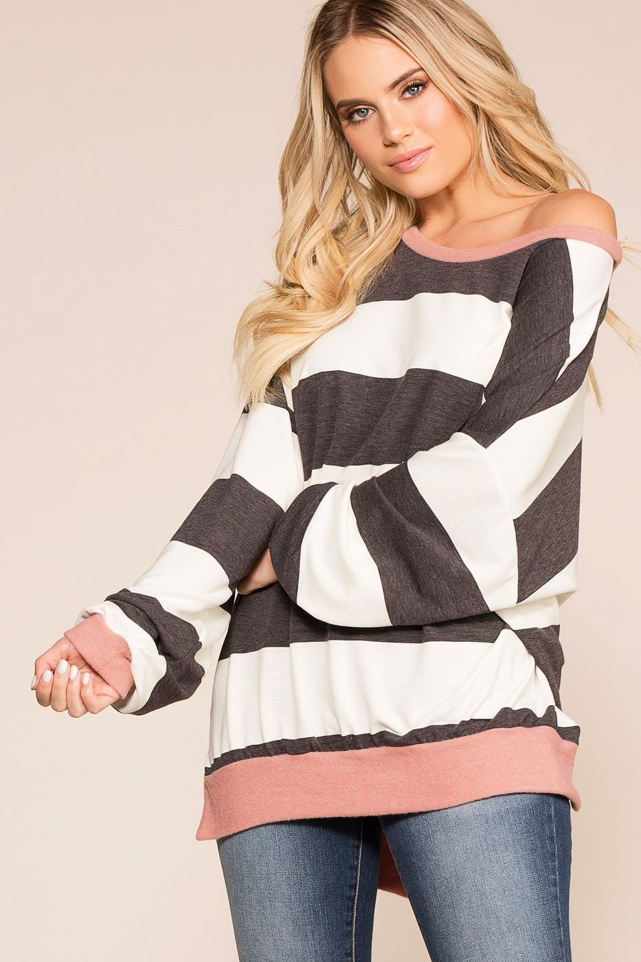 Good Friends Grey and Mauve Striped Oversize Top