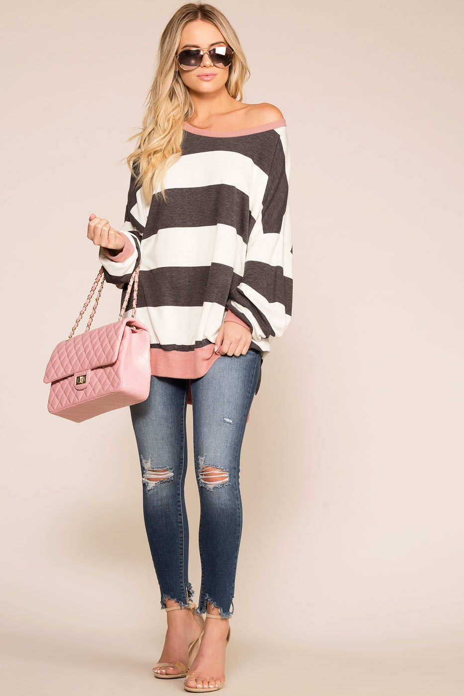 Good Friends Grey and Mauve Striped Oversize Top | Shop Priceless