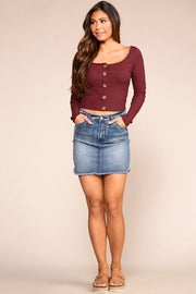 Optimistic Burgundy Button Long Sleeve Crop Top | Hearts & Hips
