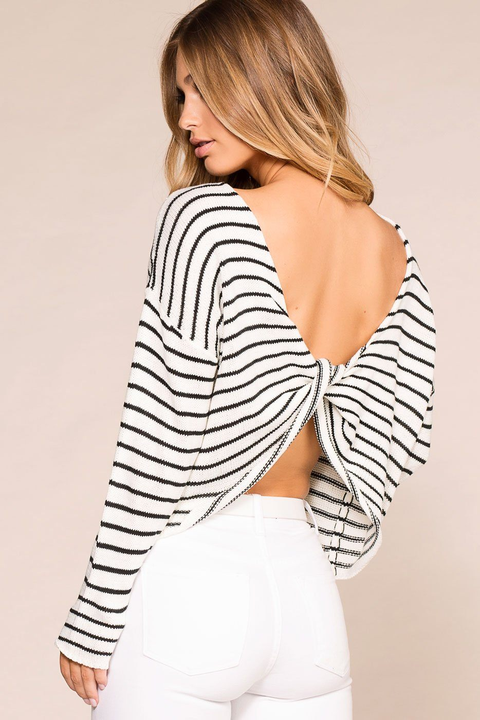 Isabelle Striped Twist Back Sweater | Shop Priceless