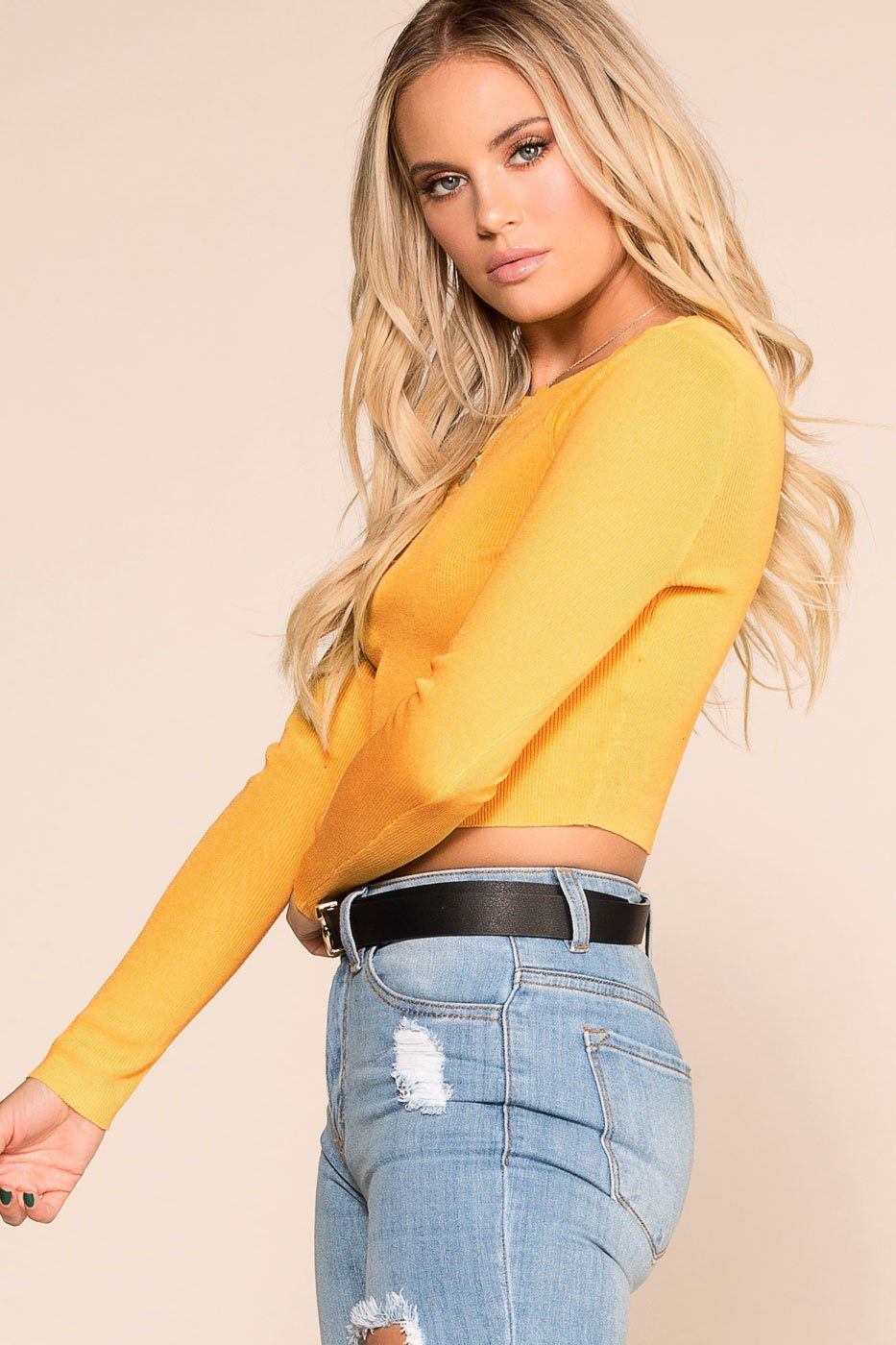 Priceless | Mustard | Long Sleeve | Crop Top | Womens