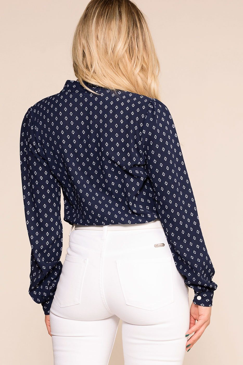 Priceless | Navy | Patterned Top | Womens