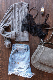 Yours Truly Grey Cable Knit Sweater Crop Top