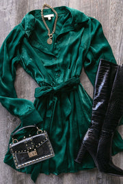 Right For Me Green Satin Dress