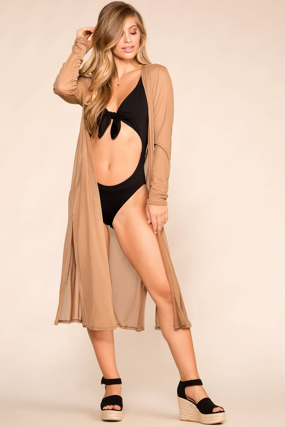 Shop Priceless | Taupe | Sheer Kimono | Womens