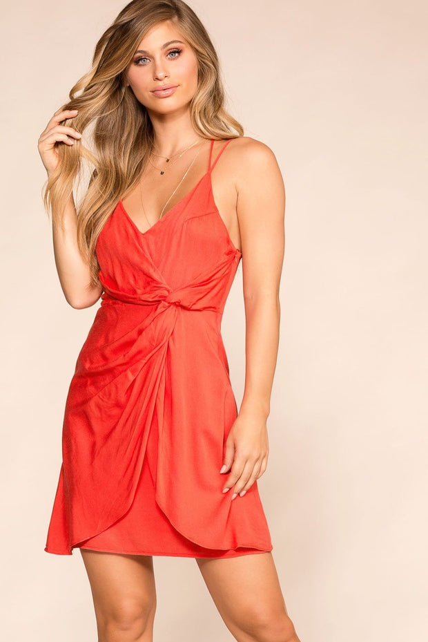 Mix It Up Red Twist-Front Dress | Loveriche