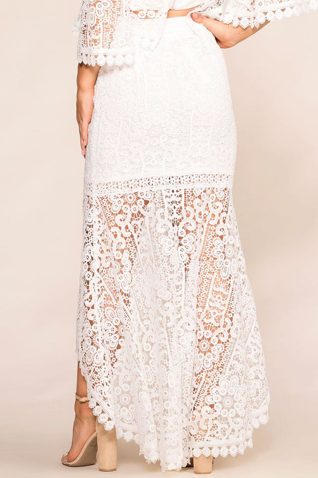 Shop Priceless | White | Crochet | High Low | Maxi Skirt | Womens