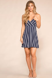 Beachy Navy Striped Mini Sun Dress
