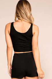 Black Tie-Front Crop Top