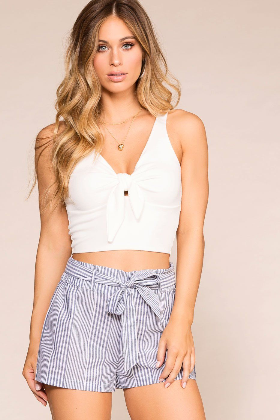 White Tie-Front Crop Top