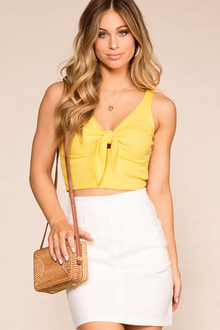 Bethany White Ribbed Knit Tank Top