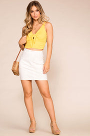Yellow Tie-Front Crop Top