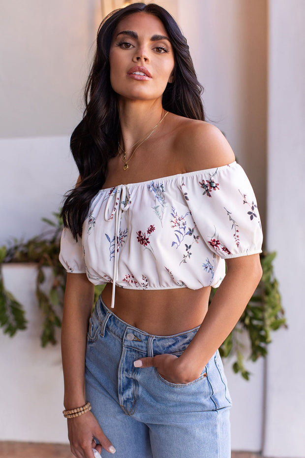 White Floral Off The Shoulder Crop Top