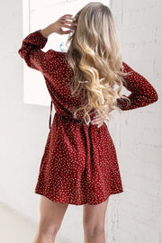 Burgundy Polka Dot Swing Dress