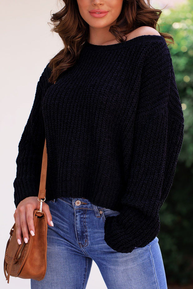 Black Chenille Knit Sweater