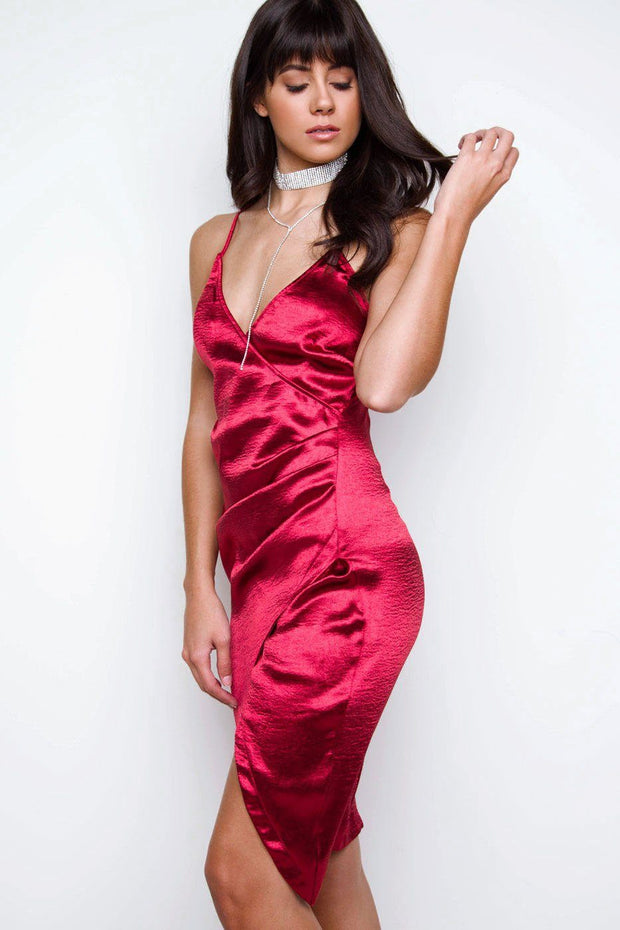 Aubrey Satin Surplice Dress - Burgundy | Shop Priceless