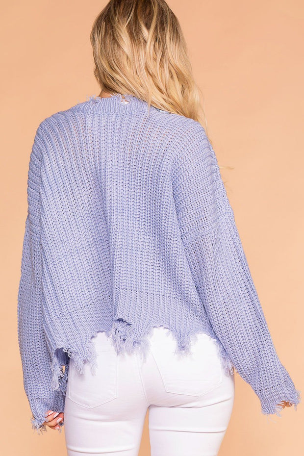 Blue Oversized Distressed Knit Sweater