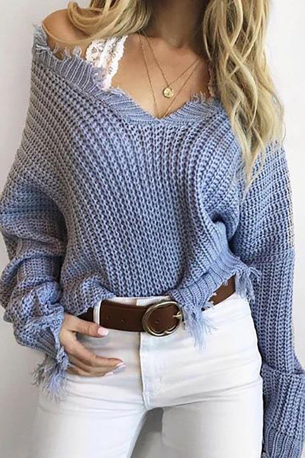 Abigail Blue Distressed Knit Sweater