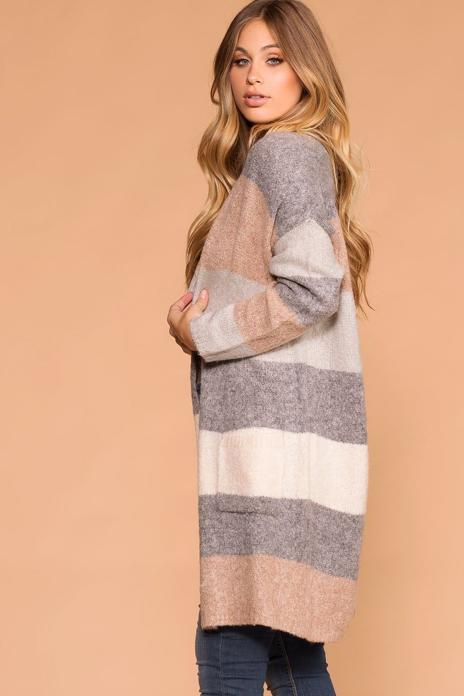 Priceless | Grey Ivory Taupe Knit Long Cardigan Sweater | Womens
