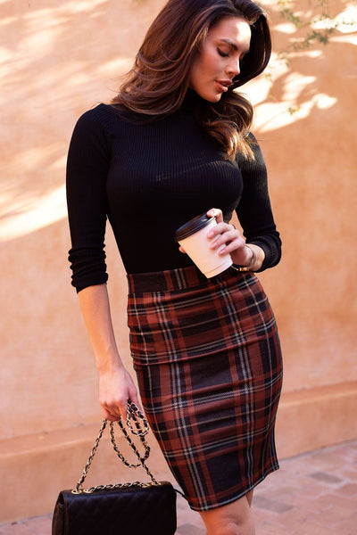 Rust Plaid Pencil Skirt