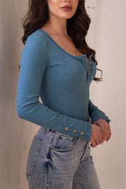Addie Light Teal Long Sleeve Top