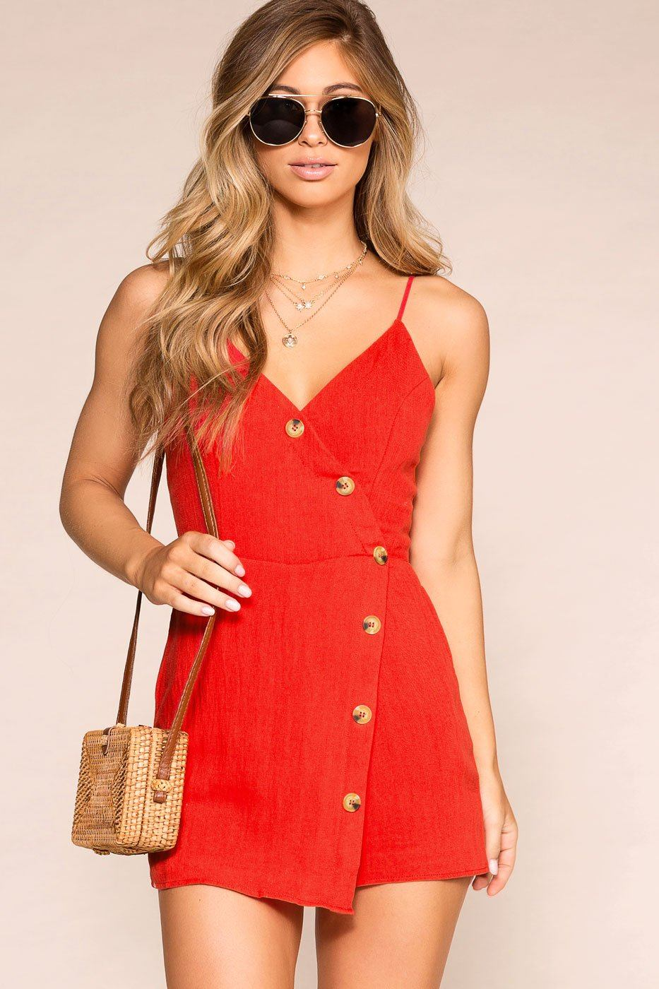 cad1d8b02af Adrienne Red Buttoned Romper