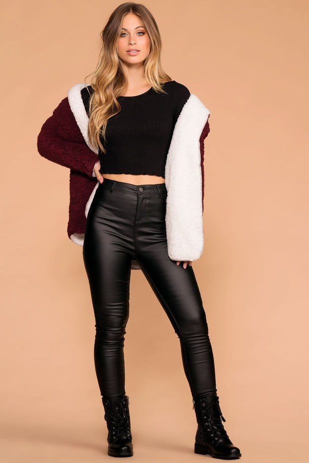 Black Long Sleeve Ribbed Knit Crop Top with Lettuce Hem