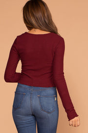 Burgundy Long Sleeve Crop Top Ribbed Knit Crop Top with Lettuce Hem