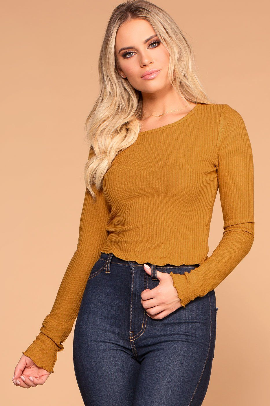 Mustard Long Sleeve Ribbed Knit Crop Top with Lettuce Hem
