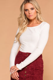 White Long Sleeve Ribbed Knit Crop Top with Lettuce Hem