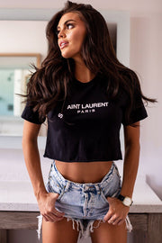 Black Short Sleeve Crop Top