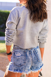 Heather Grey Long Sleeve Crop Top