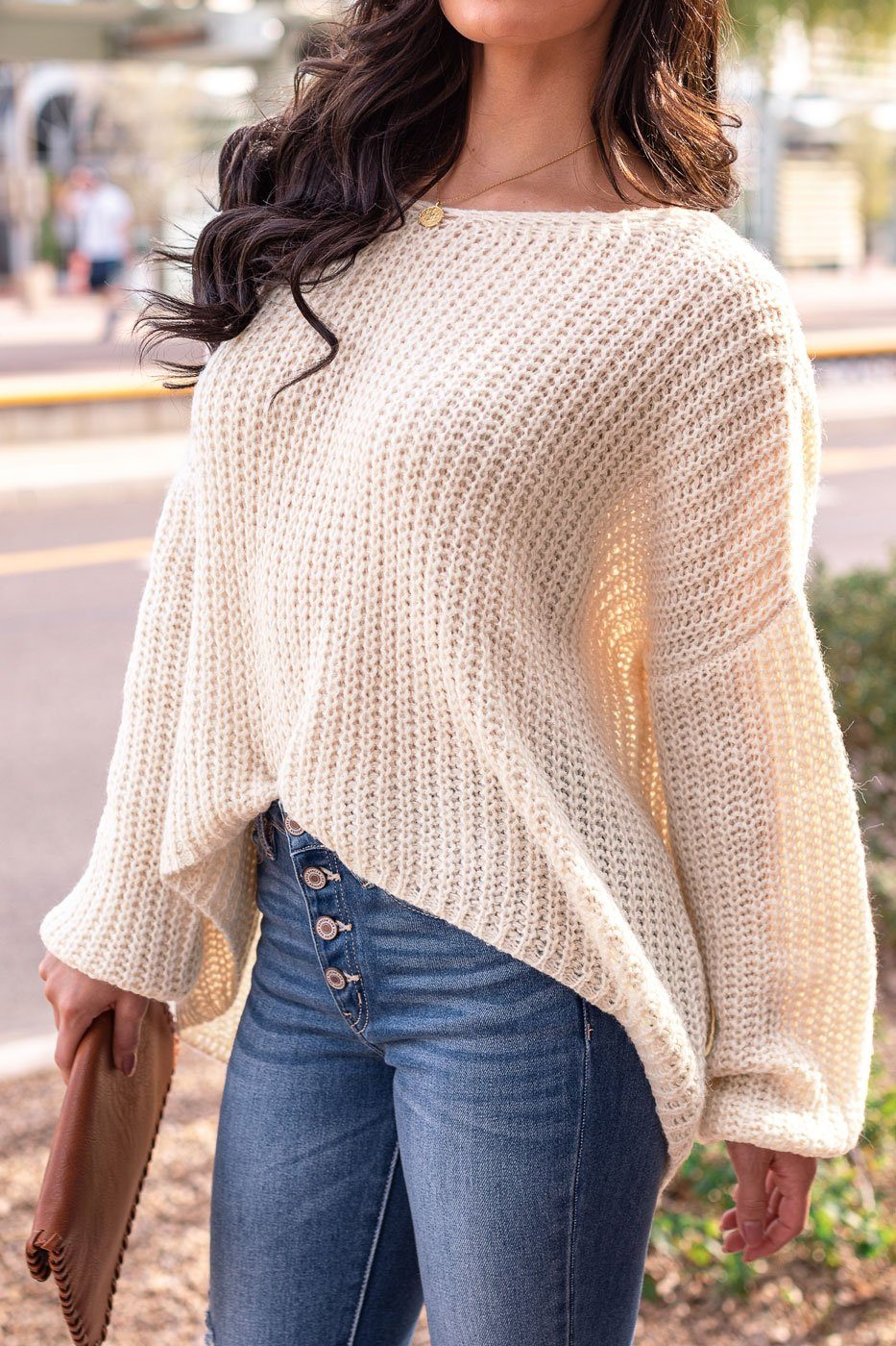 Oatmeal Oversize Knit Sweater